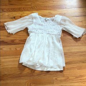 Dressbarn Women's Small White Crochet Dress Top